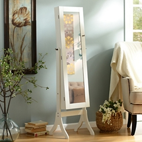 Ivory Cheval Jewelry Armoire Mirror