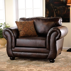 Gracia Chocolate Bonded Leather Arm Chair