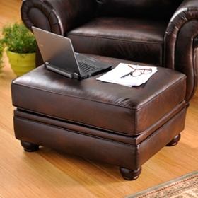 Gracia Chocolate Bonded Leather Ottoman
