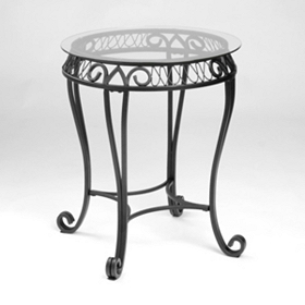 Black Metal & Glass Accent Table