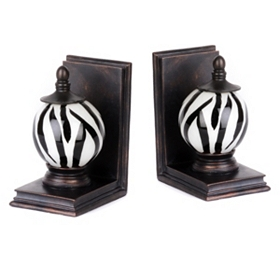 Black & White Glass Orb Bookend, Set of 2