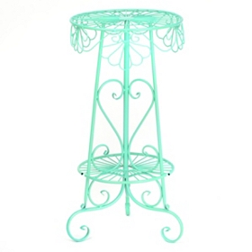 Mint Metal Heart Plant Stand