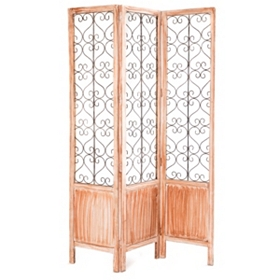 Natural Wood & Metal 3-Panel Screen
