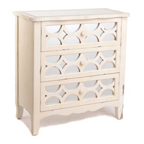 Clara Mirrored Cream 3-Drawer Chest