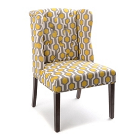 Yellow & Gray Geo Print Wingback Accent Chair