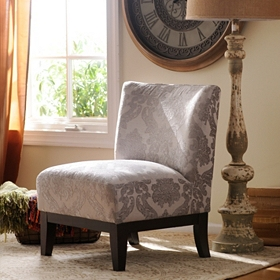 Gray Damask Slipper Chair