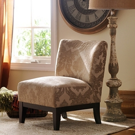 Tan Damask Slipper Chair