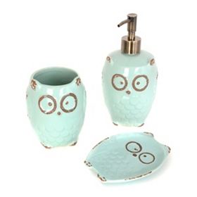 Turquoise Owl 3-Piece Bath Accessory Set