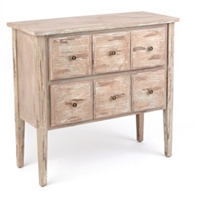 Distressed Whitewash 2-Drawer Chest