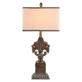 Bronze Ornate Fleur-de-Lis Table Lamp