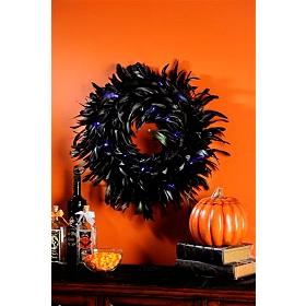Black & Blue Pre-Lit Feathered Wreath
