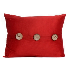 Red Porter Button Oblong Pillow