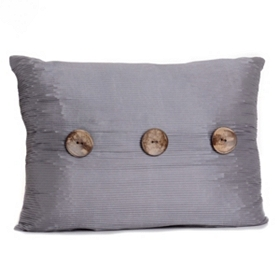 Gray Porter Button Oblong Pillow