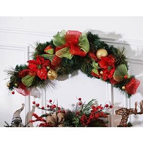Poinsettia & Ribbon Swag, 48 in.