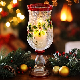 Crackle Glass Holly Hurricane