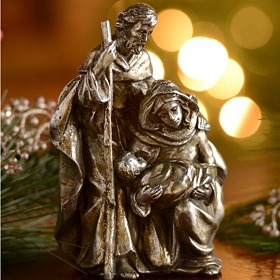 Antique Silver Holy Family Statue, 8 in.