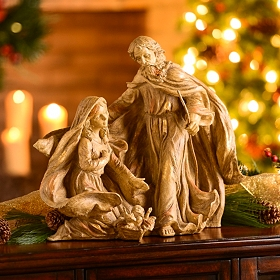 Gold Leaf Holy Family Statue, 18 in.