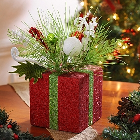 Red Christmas Present Floral Arrangement