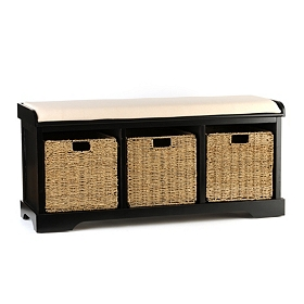 Black Cushioned Storage Basket Bench