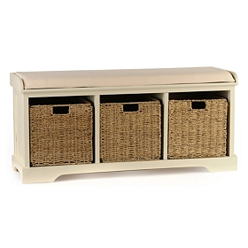 Buttermilk Cushioned Storage Basket Bench