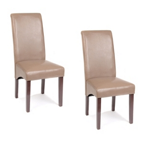 Taupe Faux Leather Parsons Chair, Set of 2