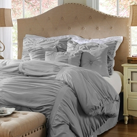 Ruched Gray 7-pc. Queen Comforter Set