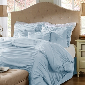 Ruched Blue Fog 7-pc. Queen Comforter Set