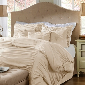 Ruched Vanilla 7-pc. Queen Comforter Set