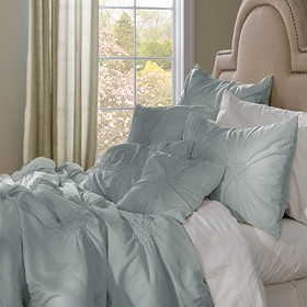 Pleated Sea Mist 7-pc. Queen Comforter Set