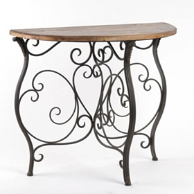 Country Side Demilune Console Table