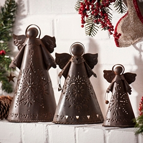 Bronze Angel Candle Holders, Set of 3