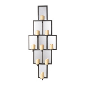 Mirrored Diamond 9-Candle Sconce