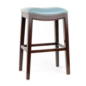 Everitt Blue Leather Bar Stool