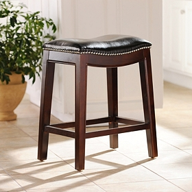 Everitt Brown Leather Counter Stool