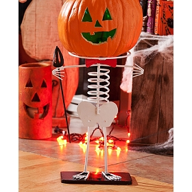 Skeleton Pumpkin Head Stand