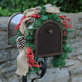 Rustic Red Berry Mailbox Swag