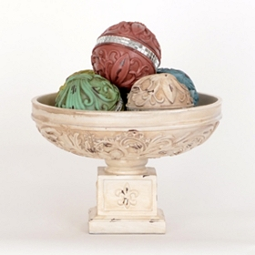 Weathered Ivory Fleur-de-Lis Orb Bowl Set