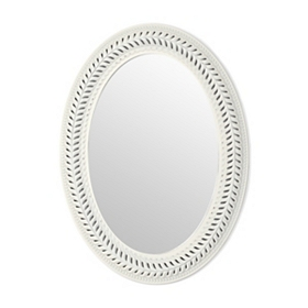 Distressed Ivory Open Leaf Wall Mirror, 22x30
