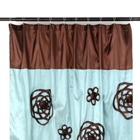 Aqua & Chocolate Flower Sketch Shower Curtain