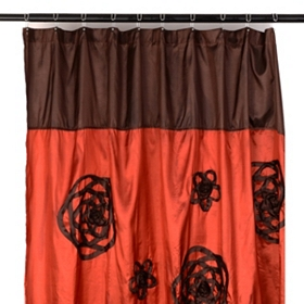 Spice & Chocolate Flower Sketch Shower Curtain