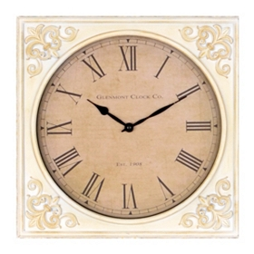 Antique White Fleur-de-Lis Wall Clock