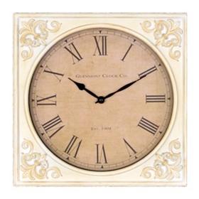 Antique White Fleur-de-Lis Wall Clock