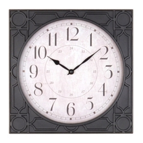 Black Geo Print Wall Clock