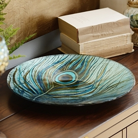 Peacock Feather Glass Charger