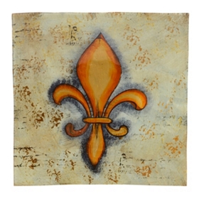 Fleur-de-Lis Square Painted Glass Charger