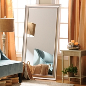 Antique Silver Framed Mirror, 38x68