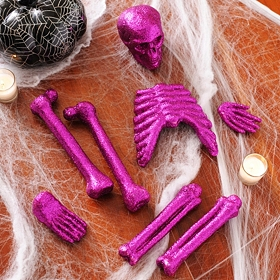 Glitzy Purple Skeleton Bones