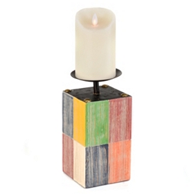 Color Block Candle Holder, 9 in.