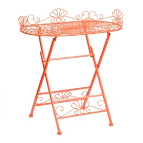 Orange Metal Folding Patio Table