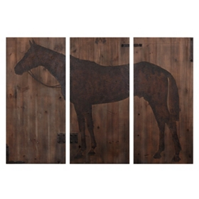 Wooden Horse Panels, Set of 3